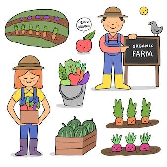 Biologische landbouw ontwerp ter illustratie
