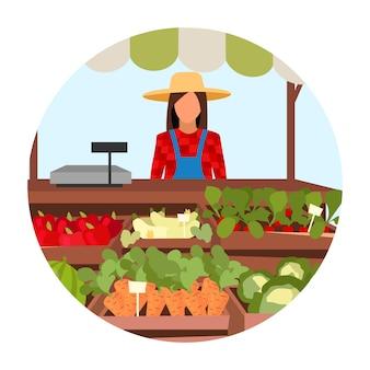 Biologische landbouwproducten platte concept pictogram. markeringen marktkraam sticker, clipart. zomer buiten winkel met eco groenten. landbouw en landbouw. geïsoleerde cartoon illustratie op wit