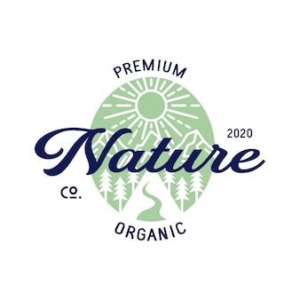 Biologische natuur landschap logo ontwerp