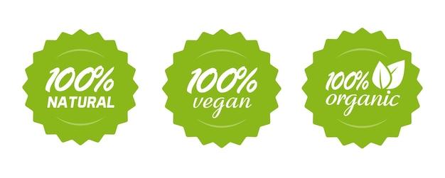 Biologische natuurlijke en veganistische voeding of voedingspictogram label, 100 procent gezonde maaltijd, groene badge voor productsticker met bladeren