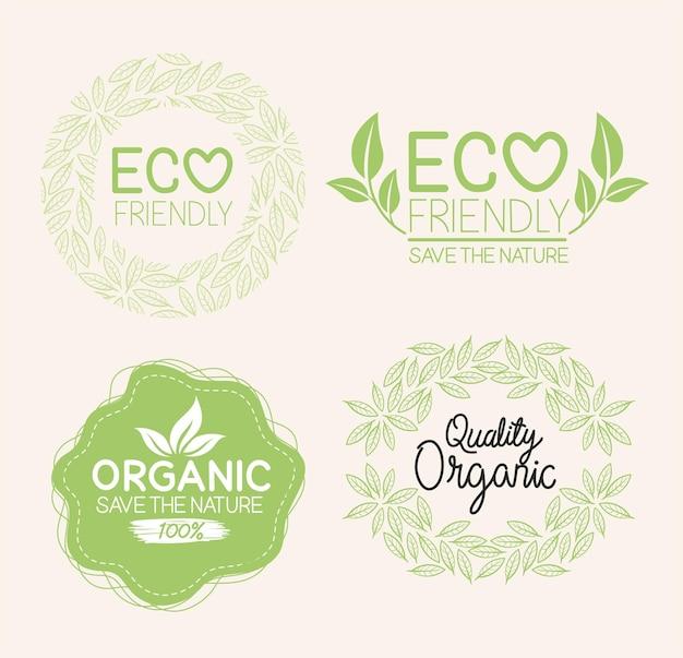 Biologische natuurlijke etiketten set