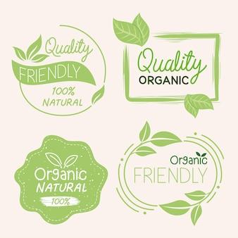 Biologische natuurlijke labels collectie