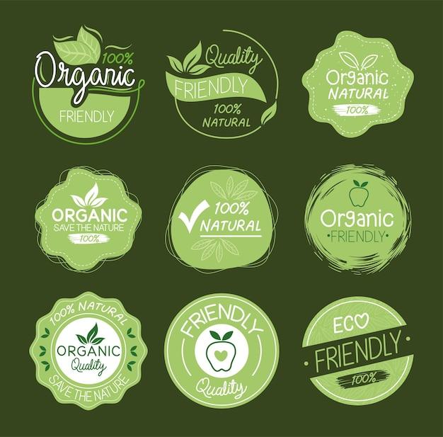 Biologische natuurlijke labels groep