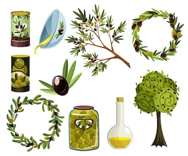 Biologische olijfproducten ingesteld. olie-elementen. verse rijpe boomfoetussen en geurige olie in flessen en kruiken die op witte achtergrond worden geïsoleerd.