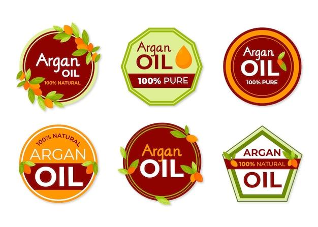 Biologische platte arganolie-badge set