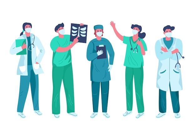 Biologische platte artsen en verpleegsters illustratie
