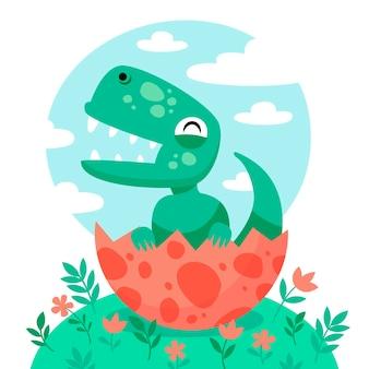 Biologische platte baby dinosaurus geïllustreerd