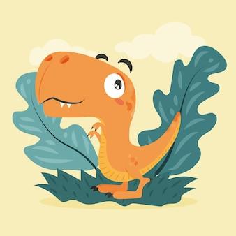 Biologische platte babydinosaurus Gratis Vector