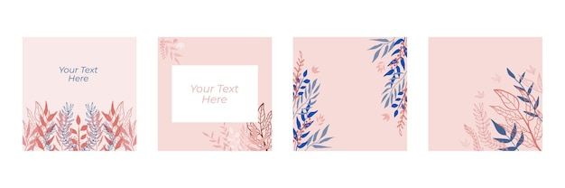 Biologische platte bloemen sjabloon voor sociale media of vierkante flyer. biologische platte bloemen set