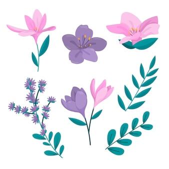 Biologische platte bloemencollectie