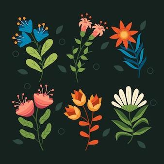Biologische platte bloemencollectie Premium Vector