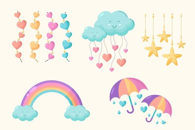Biologische platte chuva de amor decoratie-elementcollectie Gratis Vector