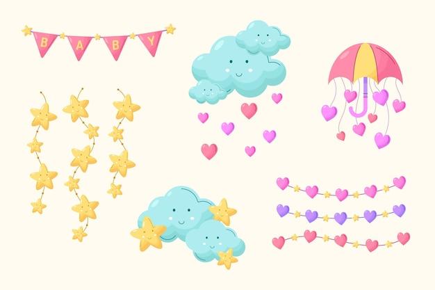 Biologische platte chuva de amor decoratie-elementcollectie
