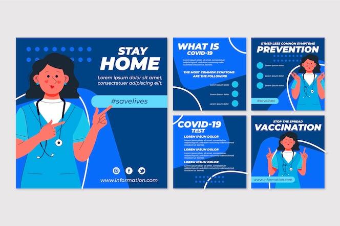 Biologische platte coronavirus instagram-postreeks