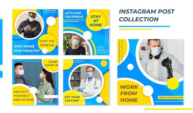 Biologische platte coronavirus instagram postverzameling