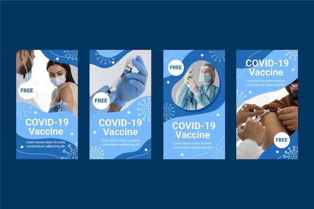 Biologische platte coronavirus instagram-verhaalset Gratis Vector