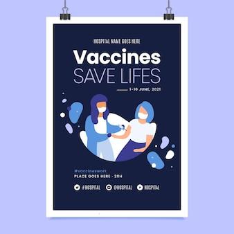 Biologische platte coronavirus vaccinatie folder sjabloon