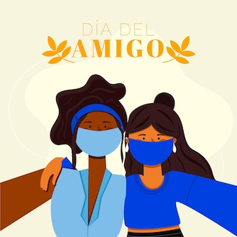 Biologische platte dia del amigo illustratie
