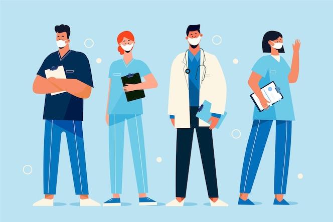 Biologische platte dokters en verpleegsters met medische maskers
