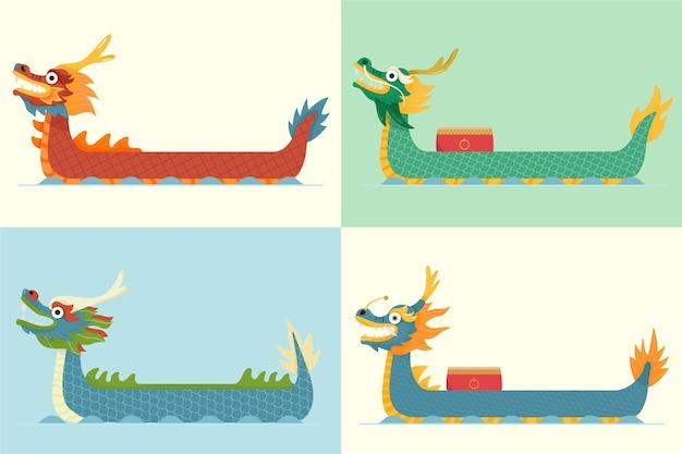 Biologische platte drakenbootcollectie