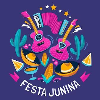 Biologische platte festa junina illustratie