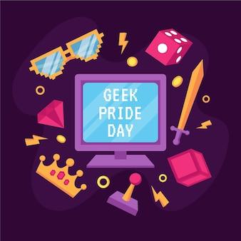 Biologische platte geek pride-dag illustratie