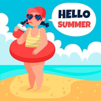 Biologische platte hallo zomer illustratie