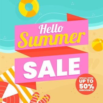 Biologische platte hallo zomer verkoop illustratie