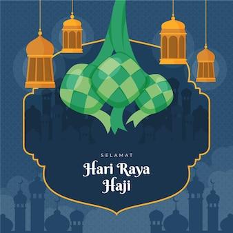 Biologische platte hari raya haji illustratie