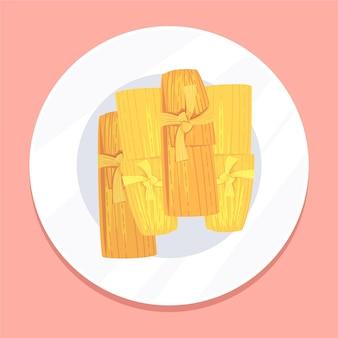 Biologische platte heerlijke tamales