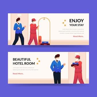 Biologische platte hotel sjabloon voor spandoek geïllustreerd