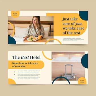 Biologische platte hotel sjabloon voor spandoek met foto