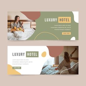 Biologische platte hotelbanner met foto