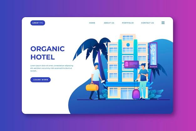 Biologische platte hotellandingspagina geïllustreerd
