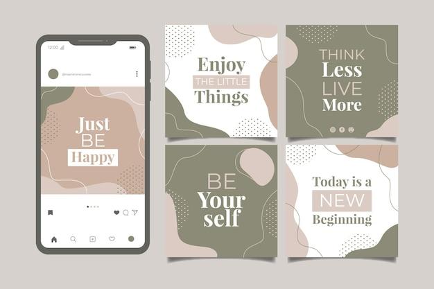 Biologische platte inspirerende citaten instagram postverzameling