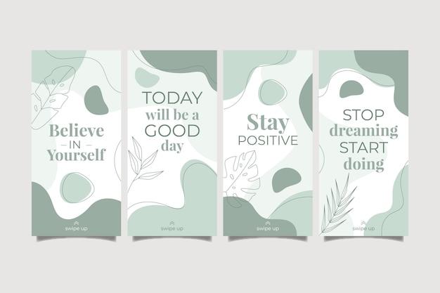 Biologische platte inspirerende citaten instagram-verhaalcollectie