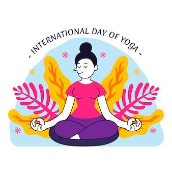 Biologische platte internationale dag van yoga illustratie
