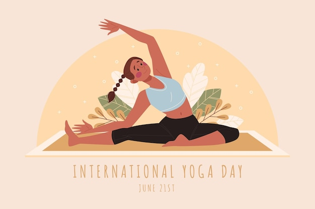 Biologische platte internationale dag van yoga illustratie