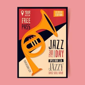 Biologische platte internationale jazz dag poster sjabloon