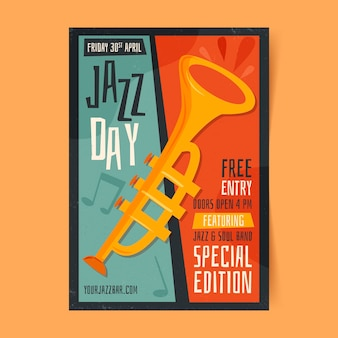 Biologische platte internationale jazz dag poster sjabloon