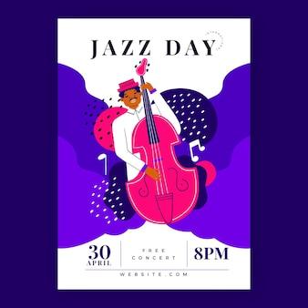 Biologische platte internationale jazz dag verticale poster sjabloon
