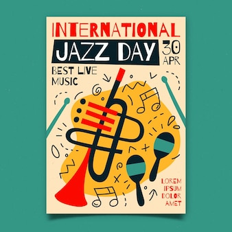 Biologische platte internationale jazz dag verticale poster sjabloon