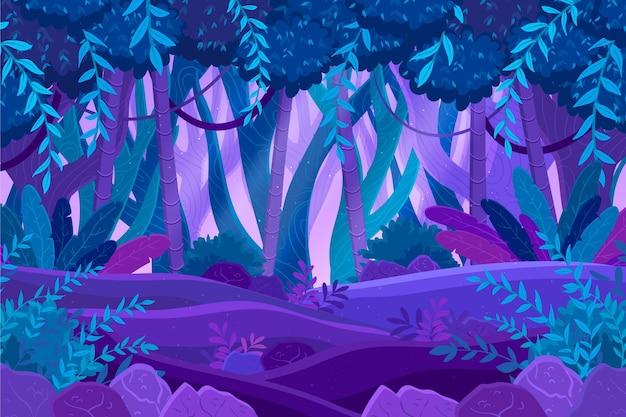 Biologische platte jungle achtergrond Gratis Vector
