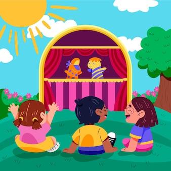 Biologische platte kinderen kijken naar geïllustreerde poppenshow