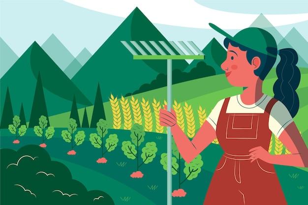 Biologische platte landbouw beroep illustratie