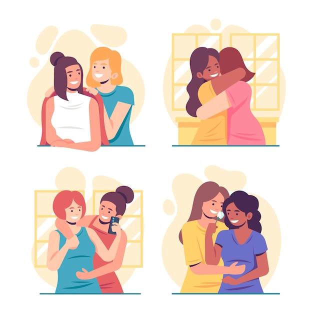 Biologische platte lesbische koppelscènes Gratis Vector