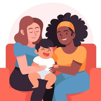 Biologische platte lesbische paar illustratie met kind