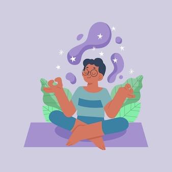 Biologische platte man mediteren