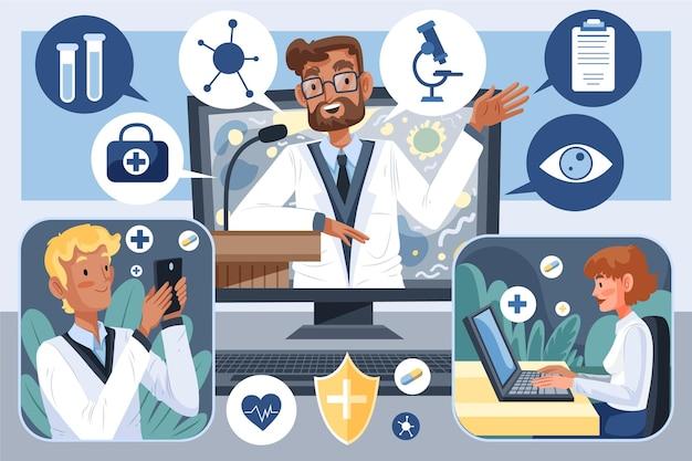 Biologische platte medische conferentie illustratie