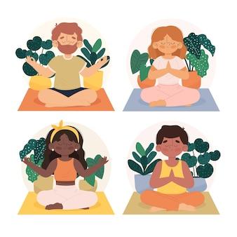 Biologische platte mensen mediteren collectie